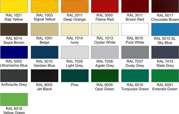 miltelinis dazymas - ral paletes spalvos
