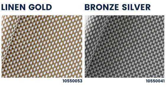 Polyscreen 550 gold silver outdoor roller blinds