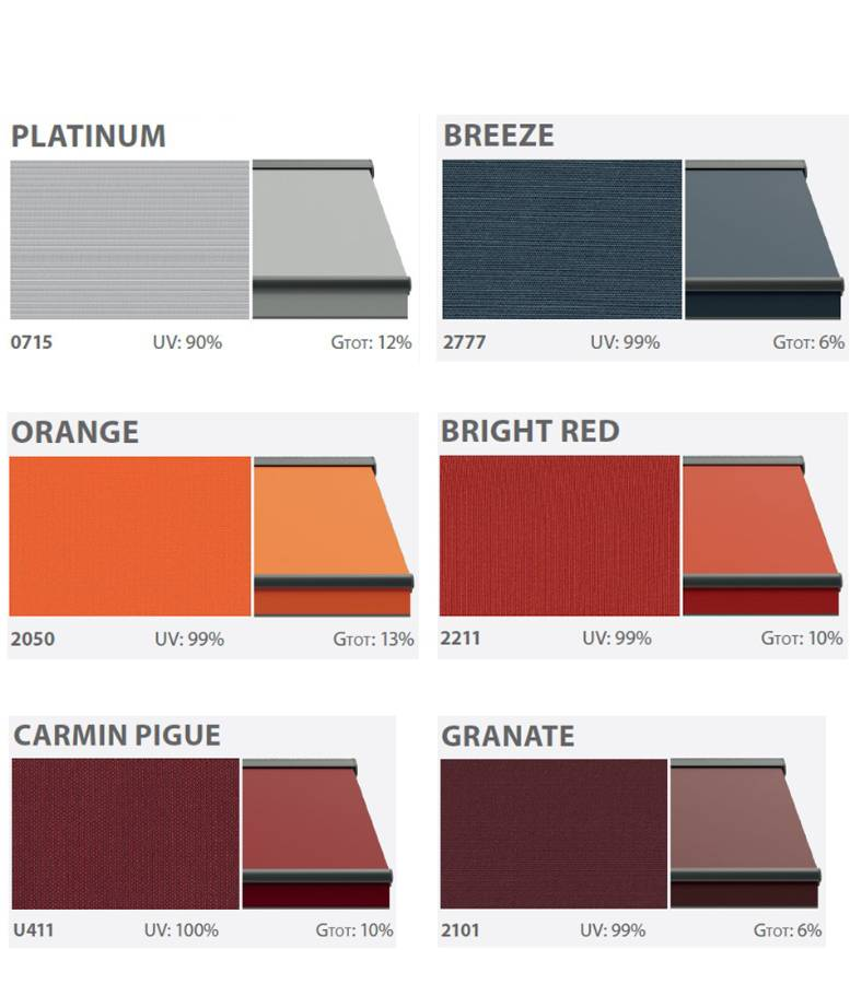 Textiles of balcony awnings solid